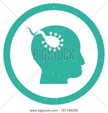 Brain Parasite grainy textured icon inside circle for overlay watermark stamps. Flat symbol with dust texture.