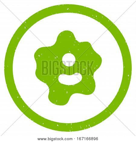 Ameba grainy textured icon inside circle for overlay watermark stamps. Flat symbol with dust texture. Circled dotted vector eco green ink rubber seal stamp with grunge design on a white background.