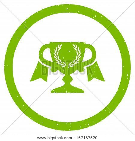 Award Cup grainy textured icon inside circle for overlay watermark stamps. Flat symbol with dust texture.