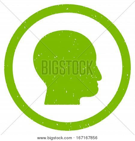 Bald Head grainy textured icon inside circle for overlay watermark stamps. Flat symbol with scratched texture.
