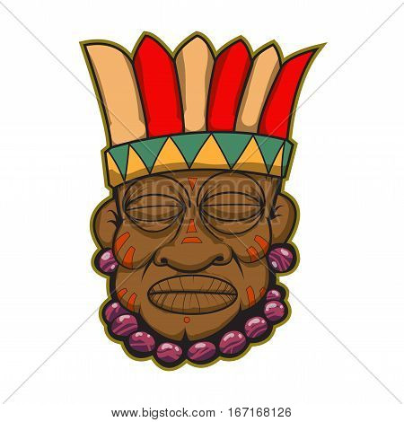 indian chief with violet jewerly and red stripes on face