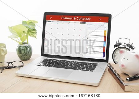 desk office and business Calender Planner homepage on the computer screen. organization management remind concept.