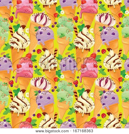 Seamless pattern with Ice cream cones with glaze Chocolate strawberry blueberry and cherry on yellow background.