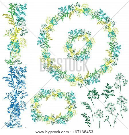 Set of floral frame seamless border and separated elements with wild flowers and grass. Silhouettes isolated on white background.