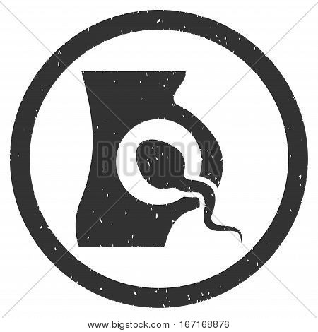 Artificial Insemination grainy textured icon inside circle for overlay watermark stamps. Flat symbol with unclean texture.