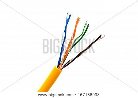An ethernet wire cable or yellow patch-cord with twisted pair.