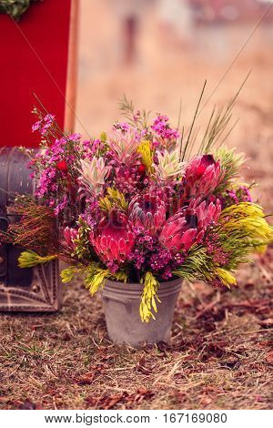 decoration colorful flower in grass. wedding dat