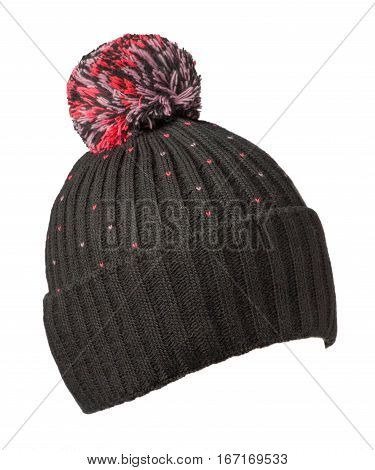 Knitted Hat Isolated On White Background .hat With Pompon .    Black Hat  .