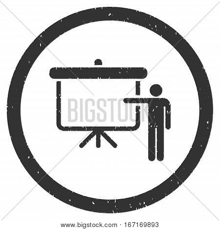 Lecture Board grainy textured icon inside circle for overlay watermark stamps. Flat symbol with dust texture. Circled dotted vector gray ink rubber seal stamp with grunge design on a white background.