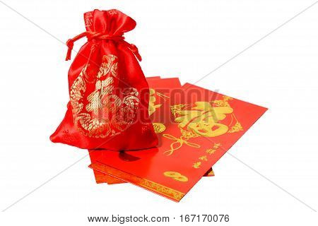 Red bag and  Red envelope with text