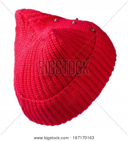 Women's Hat . Knitted Hat Isolated On White Background.red Hat