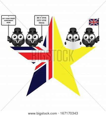 Comical UK and EU split star representing the United Kingdom exit from the European Union resulting from the June 2016 referendum with trade negotiators