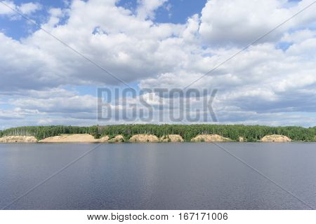 View Of The High Bank Of The River With Sandy Precipices Forested, Volga, Russia