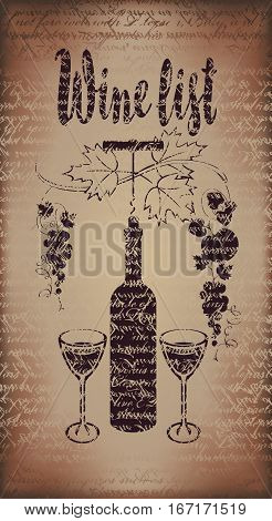 Cover for a wine list menu with a bottle a glass and a bunch of grapes