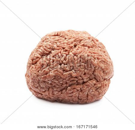 Ball of ground minced beef meat isolated over the white background