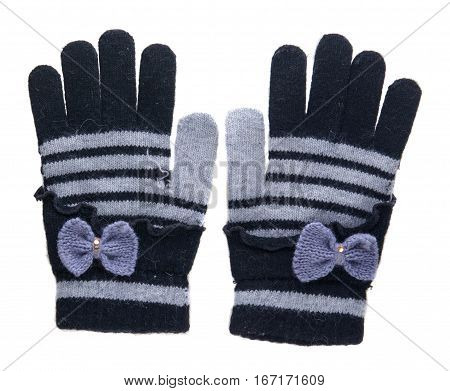 Knitted Gloves. Gloves Isolated On White Background. Gloves A Top View.black And Gray Gloves With A