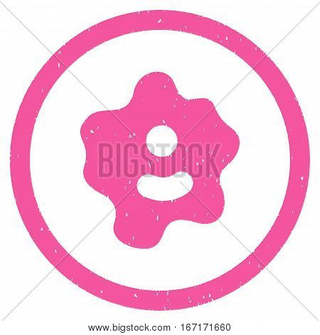 Ameba grainy textured icon inside circle for overlay watermark stamps. Flat symbol with unclean texture. Circled dotted vector pink ink rubber seal stamp with grunge design on a white background.