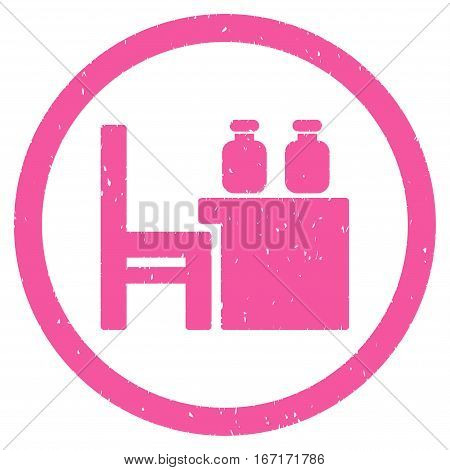 Apothecary Table grainy textured icon inside circle for overlay watermark stamps. Flat symbol with dust texture.