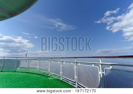 The View From The Aft Deck Of The Ship On A Beautiful Blue Sky With Clouds And The Wide River, Volga