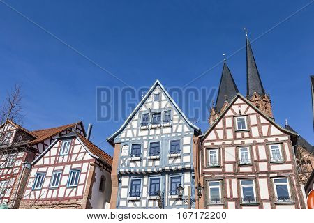 Facade Of Old Historic Houses From Public Area In Gelnhausen