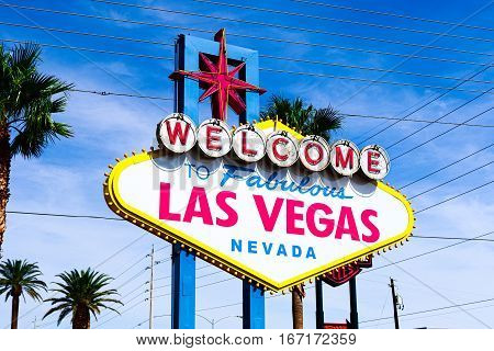 A view of Welcome to Fabulous Las Vegas sign in Las Vegas Strip at day time