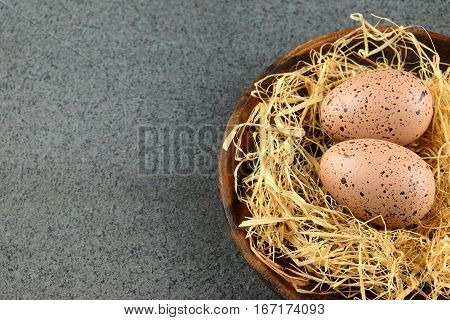 Two quail easter eggs on wooden plate with hay on dark background with space for the text.