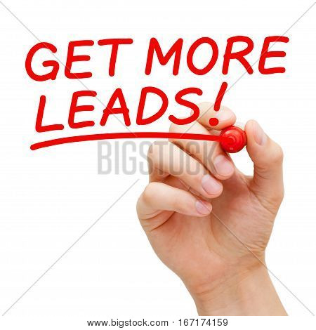 Hand writing Get More Leads with red marker on transparent glass board.