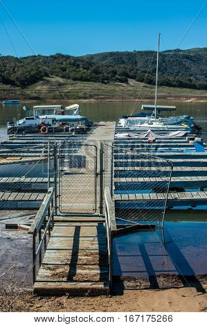 Portrait view of low level lake and much needed repairs for the docks at Casitas.
