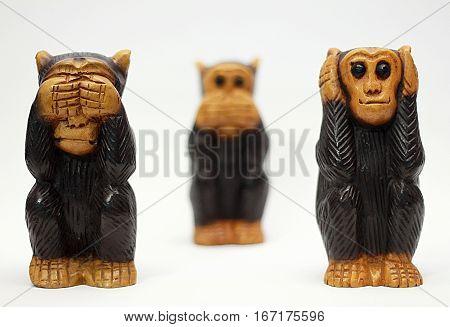 Three monkeys one does not see the other does not listen and the other does not speak