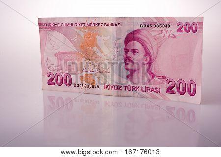 Turksh Lira Banknotes Of 200  On White Background