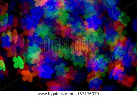 flower red green blue bokeh effect dark blackground