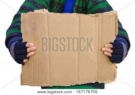 Homeless person asking for help holding a blank board