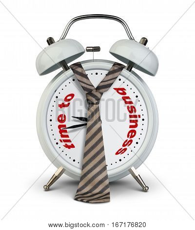 Alarm clock with tie on white time to business startup concept