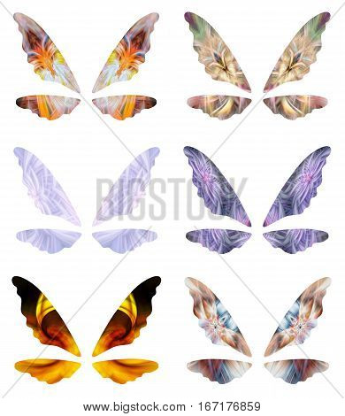 Illustration of abstract fairy wings with intricate designs