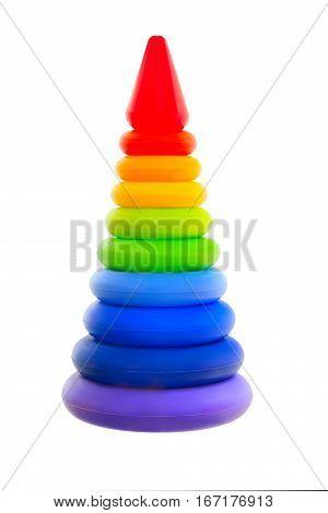 Child Pyramid rainbow isolated on white background