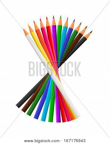 Illustration of twelve coloring pencils in a stacked shape