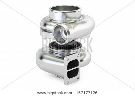 Car turbocharger closeup 3D rendering isolated on white background