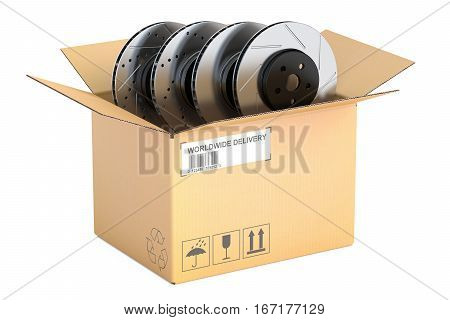 Cardboard box with car disc brake rotors 3D rendering