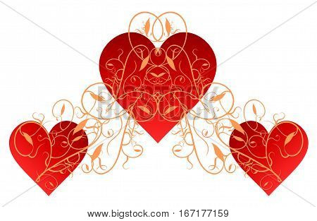 Intricate swirls of gold designs over three heart shapes