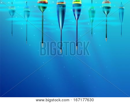Fishing Bobbers Background Hooks Underwater Wallpaper 2