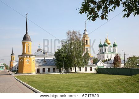 Historical town Kolomna in Russia orthodox churches inside Kremlin (fortress in town centre). poster