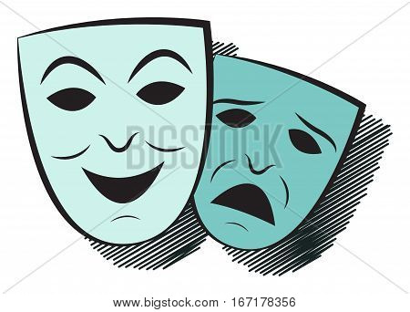 Two masks. One cheerful the other sad. Simple vector illustration