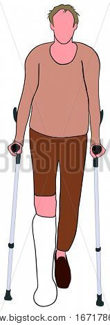 An Old man with broken leg using mobility aid standing walking basing on forearm crutches conceptual togetherness healthcare image support elderly people concept