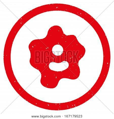 Ameba grainy textured icon inside circle for overlay watermark stamps. Flat symbol with scratched texture. Circled dotted vector red ink rubber seal stamp with grunge design on a white background.