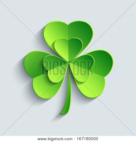 Stylish modern St. Patrick's day card with green 3d leaf clover cutting paper. Stylized shamrock isolated on grey background. Beautiful trendy wallpaper. Vector illustration