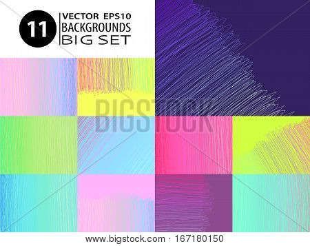 Doodle backgrounds. Big set of abstract layouts. Ink scribbles templates. Pencil hand drawn effect. Sketch vector illustrations for web design or modern printed products.