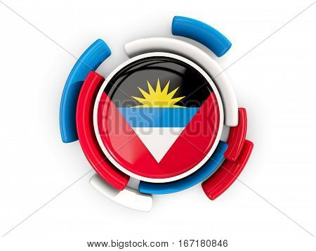 Round Flag Of Antigua And Barbuda With Color Pattern