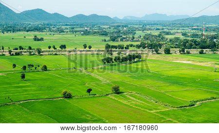 terraced rice fields Kanchanaburi province Thailand Sufficiency economy