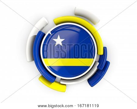 Round Flag Of Curacao With Color Pattern