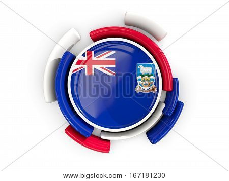 Round Flag Of Falkland Islands With Color Pattern
